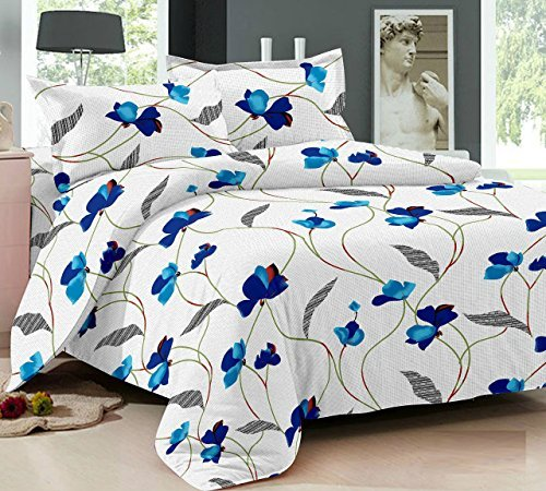 Ahmedabad Cotton Comfort 160 TC Cotton Double Bedsheet with 2 Pillow Covers – White and Blue
