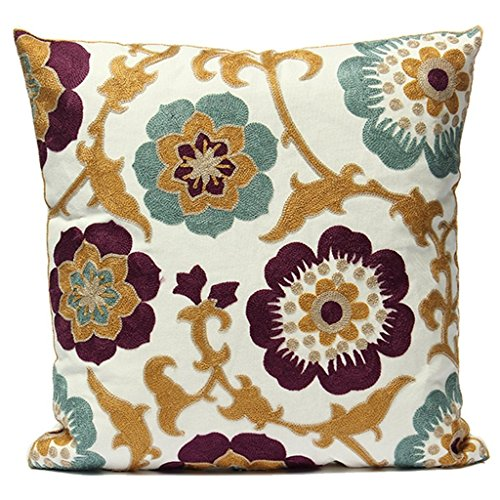 Uniifurn Purple & Teal Blue Flower Embroidered Throw Pillow Covers for Couch, Cushion Cover 17x17 Inches - Purple Teal Throw Pillows