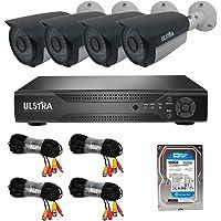 ULSTRA Kit 4 cámaras de Seguridad AHD con 500GB Accesorios Incluidos Circuito Cerrado Ver en Celular o PC Sistema de Seguridad