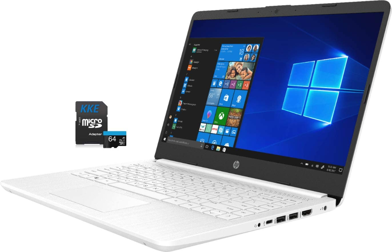 "HP Laptop, 14"" HD Screen, Intel Celeron N4020 Processor, 4GB DDR4 Memory, 64GB eMMC, Webcam, WiFi, Bluetooth, 1-Year Microsoft 365, Online Class/Online Meeting, Windows 10 Home, KKE 64GB Micro SD Card"