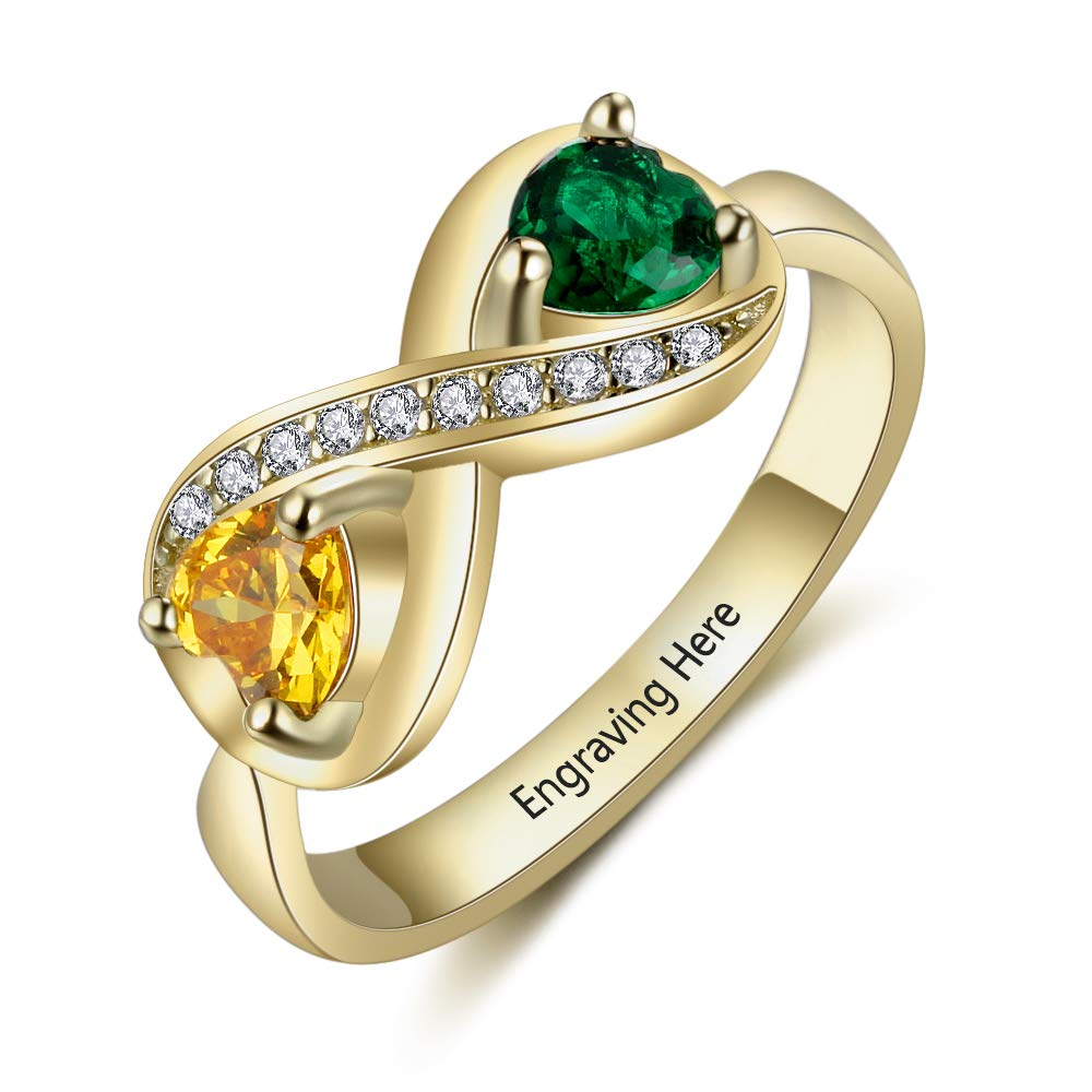 JewelOra Engraved Simulated Birthstone Rings for Women Name Ring Personalized Infinity Promise Rings for Her