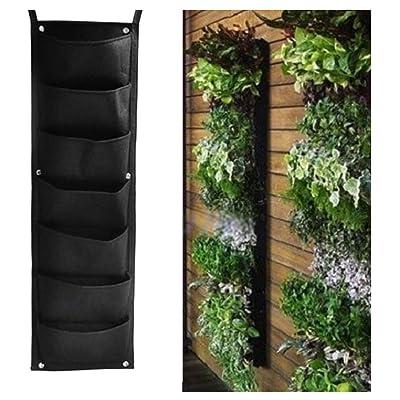CONSTR 7 Pockets Vertical Wall Garden Planter, Garden Vertical Wall Hanging Vegetable Plant Grow Storage Bag Pouch, Indoor/Outdoor Herb Pot Seedling-Raising Bags(100cm x 30cm) Black : Garden & Outdoor