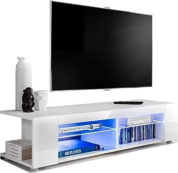 ExtremeFurniture T37 Mueble para TV, Carcasa en Blanco Mate/Frente en Blanco Alto Brillo sin LED: Amazon.es: Electrónica