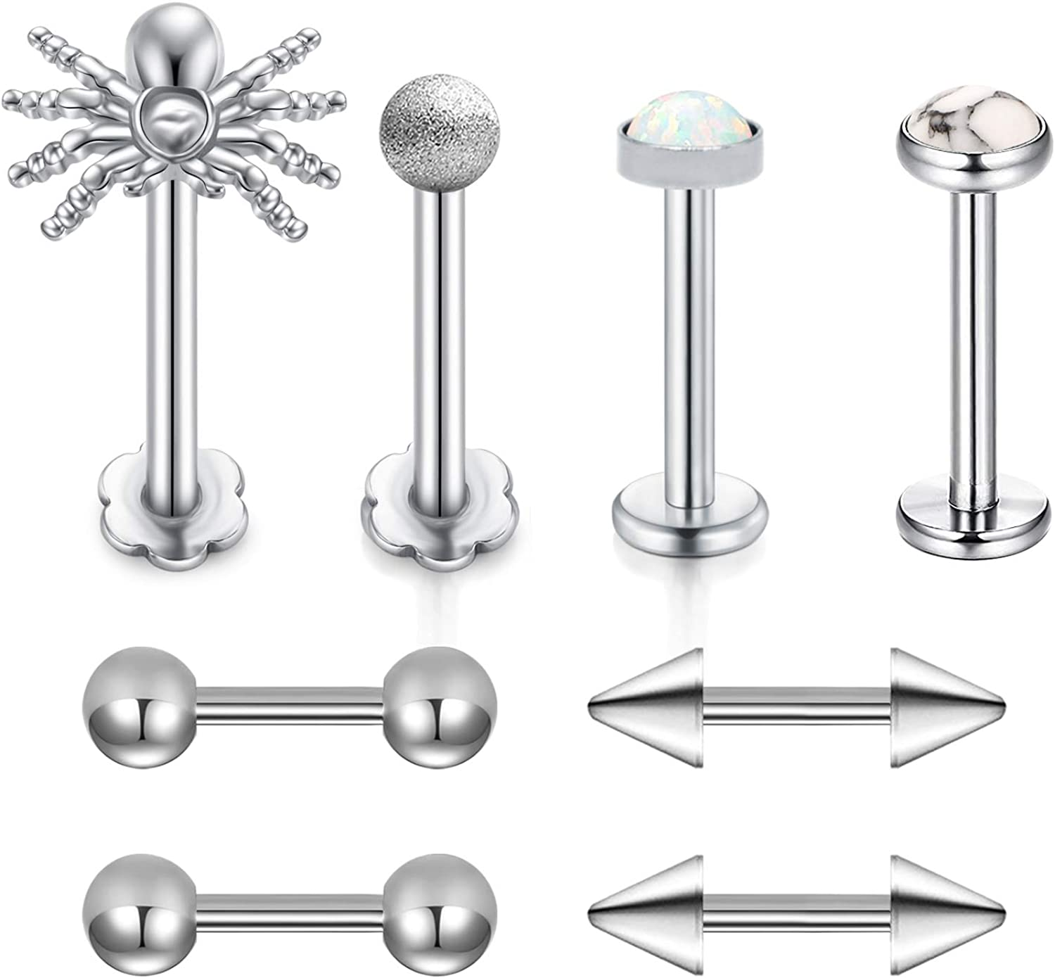 Briana Williams 16G Stainless Steel CZ Crystal Ferido Ball Labret Monroe Lip Rings Cartilage Tragus Helix Earring Barbell Stud Piercing Jewelry 6mm 1//4 Inch