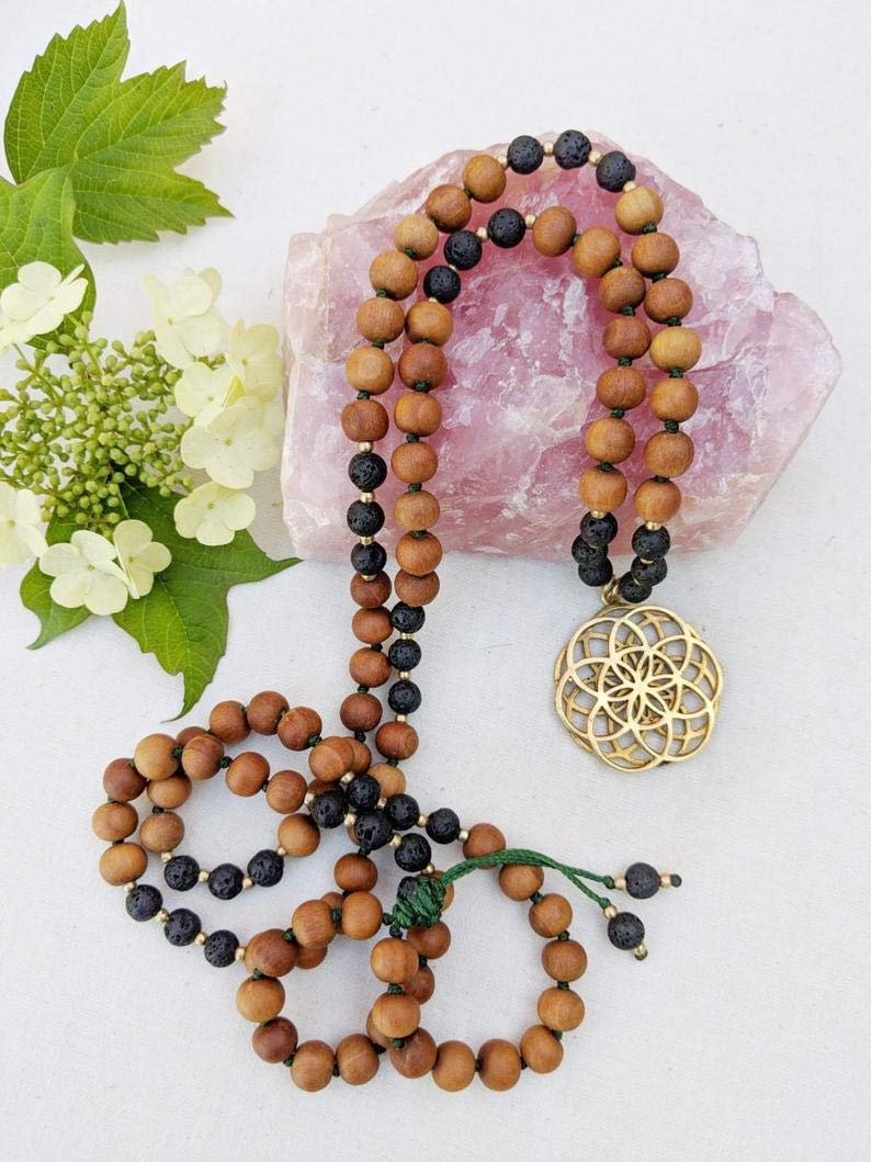Amazon.com: Yoga Mala Black Lava Sandalwood Seed of Life ...