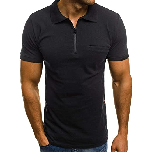 03b778089 Men's Casual Slim Fit Short Sleeve Zip Polo Shirt Fashion Front Pocket T-