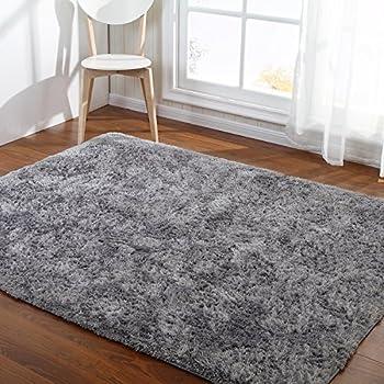 Hoomy Modern Silver Gray Floor Rugs Foam Fluffy Bedroom Carpet Nonslip Shaggy Floor
