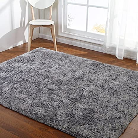 Amazon Com Hoomy Fluffy Silver Gray Rugs Shaggy Bedroom Area Rugs