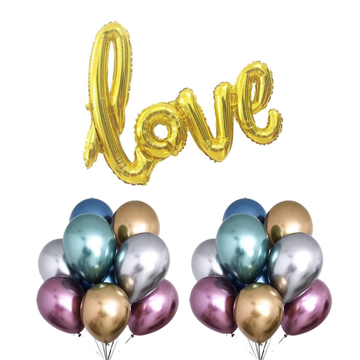 7 Colours Metallic and Large Love Foil Balloons for Confession Bachelorette Window Design Birthday Wedding Party Decoration (Golden Rainbow)