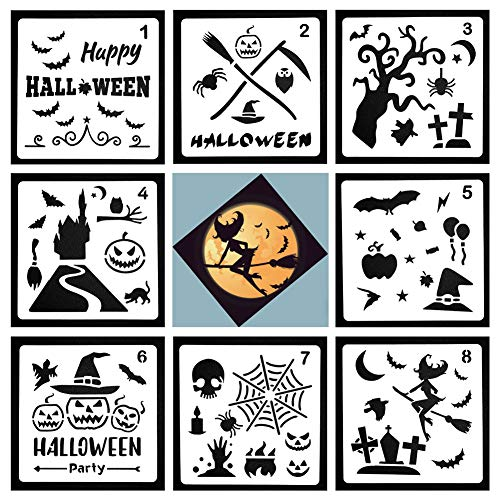 (NABLUE Halloween Decor Stencil,Pumpkin Wizard Super Stretch Cobweb Biting Bat Super Value Pack for Halloween Decoration - Happy Halloween Stencils Scrapbooking Embossing DIY)