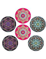 Coasters for Drinks - Absorbent Ceramic Stone Coasters Set of 6, 3 Mandala Boho Styles with Cork Backing, Holder Included, Protect Your Furniture From Spills, Scratches, Water Rings and Damage