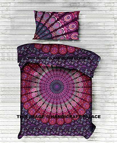 Mandala Duvet Cover Twin Indian Quilt Cover Cotton Throw Doona Cover With Pillow , 52x80 Inch Cotton Handmade Bohemian By ''Handicraft-Palace'' Peacock Mandala Ethnic Art Bedding by Handicraft-Palace