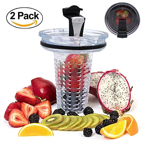 niceEshop(TM) 2pcs Yeti lids and 2pcs Fruit/Ice Cube Infuser 30 Oz Spill Proof and Splash Resistant Cup Lid with Fruit or Ice Infuser for Yeti Tumbler RTIC Ozark Trail