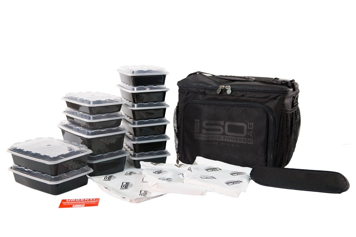 Isolator Fitness 6 Meal ISOCUBE Meal Prep Management Insulated Lunch Bag Cooler with 12 Stackable Meal Prep Containers, 3 ISOBRICKS, and Shoulder Strap - MADE IN USA (Blackout) by Isolator Fitness