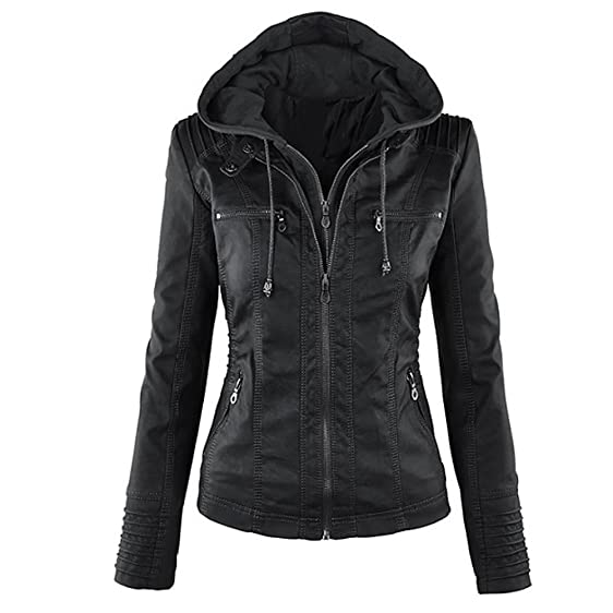Blivener Womens Classic Faux Leather Hooded Jackets Zip Up Outwear ...