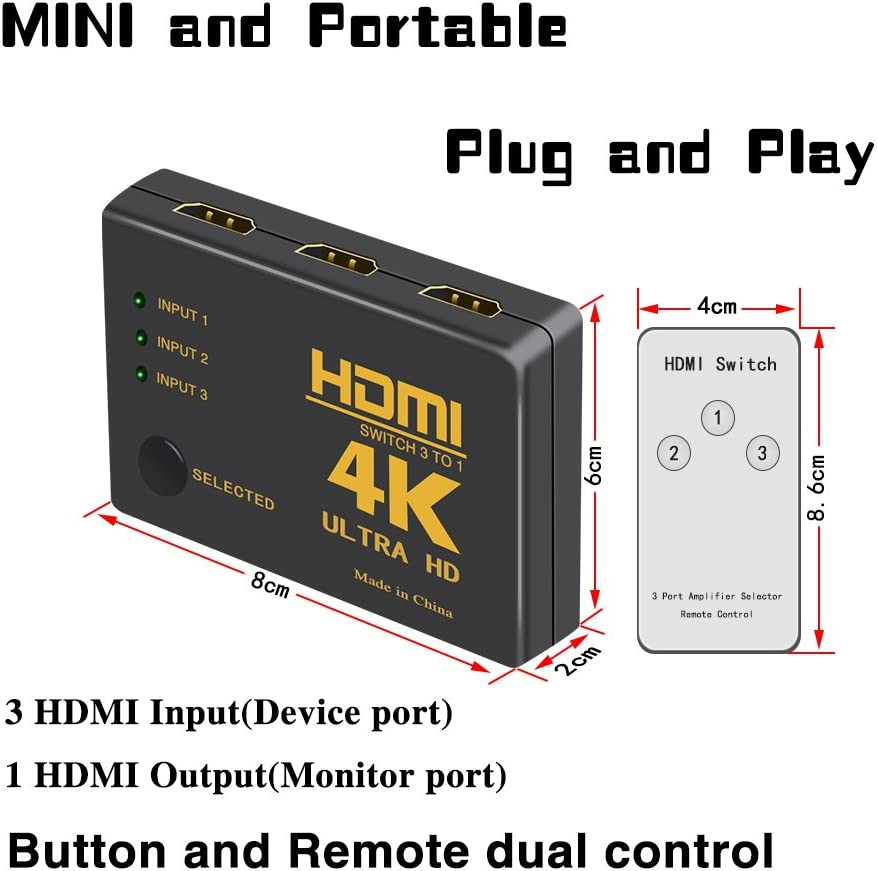HDMI Switch 4K ZAIBANG 3 Ports HDMI Switcher Splitter Support 4K@30Hz//2K//1080P//3D with IR Remote Control 3 Input 1 Output