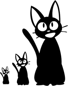 Jiji Decal: Kiki Delivery Service Jiji Plush Cat. Jiji Cat Stickers for Laptop, Computer, Apple iPhone, Mac Air, MacBook Pro, Ipad. A Jiji Plushie Vinyl Decals Sticker. - Black