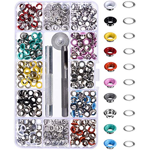 Bememo 300 Pieces Grommets Kit Metal Eyelets Shoes Clothes Crafts, 10 Colors (3/16 ()