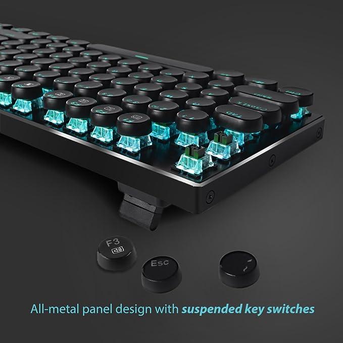 Redragon K556-RK RGB LED retroiluminado teclado de juego mecánico con interruptores marrones, 104 anti-ghosting estándar de las teclas retro vintage USB ...