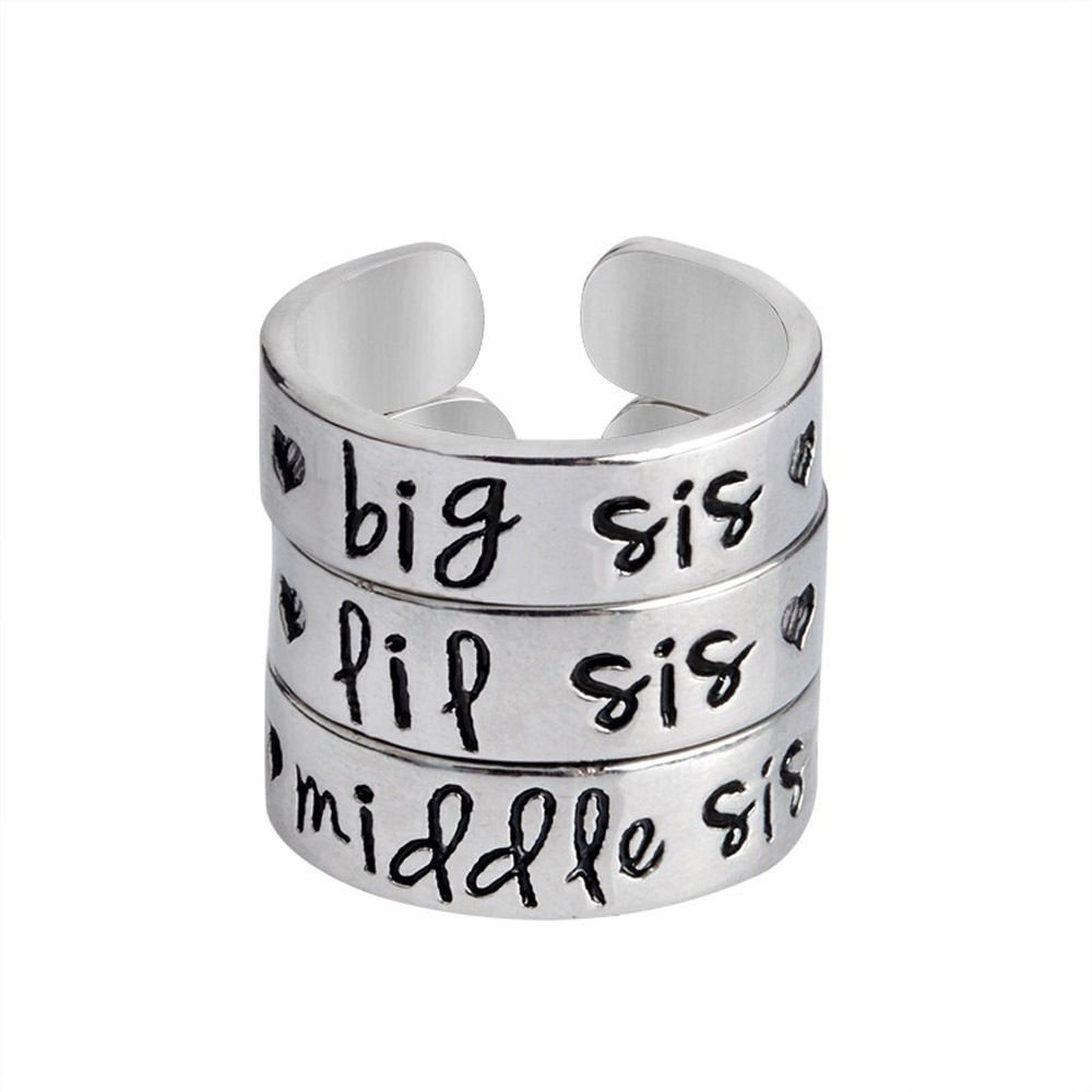 Fashion Adjustable Rings Silver Plated Big Middle Little Sister Opening Rings LOVE STORY nogluck