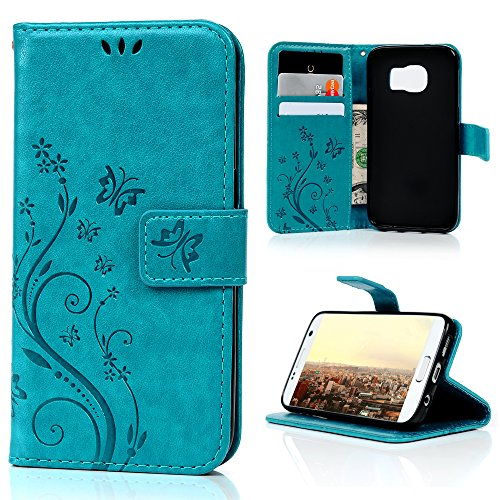 Galaxy S7 Case (Not Galaxy S7 Edge) - MOLLYCOOCLE Blue Butterfly PU Leather Wallet Purse Credit Card ID Holders Design Flip Folio TPU Soft Bumper Ultra Slim Fit Cover for Samsung Galaxy S7