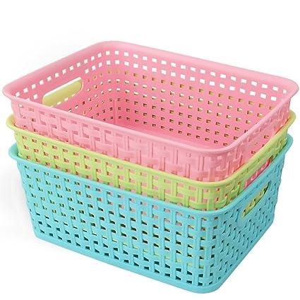 Ackmond Cestas/organizadores de cubos de almacenamiento de plástico multicolor, pack de