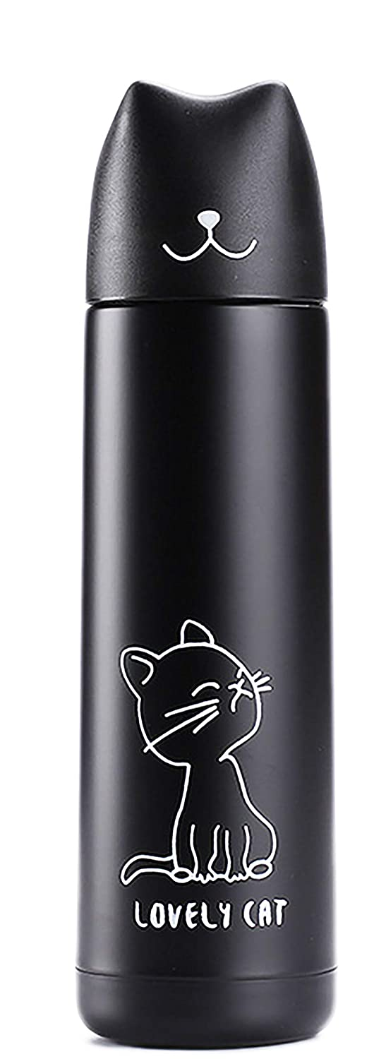 17oz Cat Tumbler Cute Cat Thermos Mug with Pourable Stopper Leak-proof Stainless Steel Double Wall Vacuum Insulated Flask for Kid Women Cat Lovers Gift(Black)
