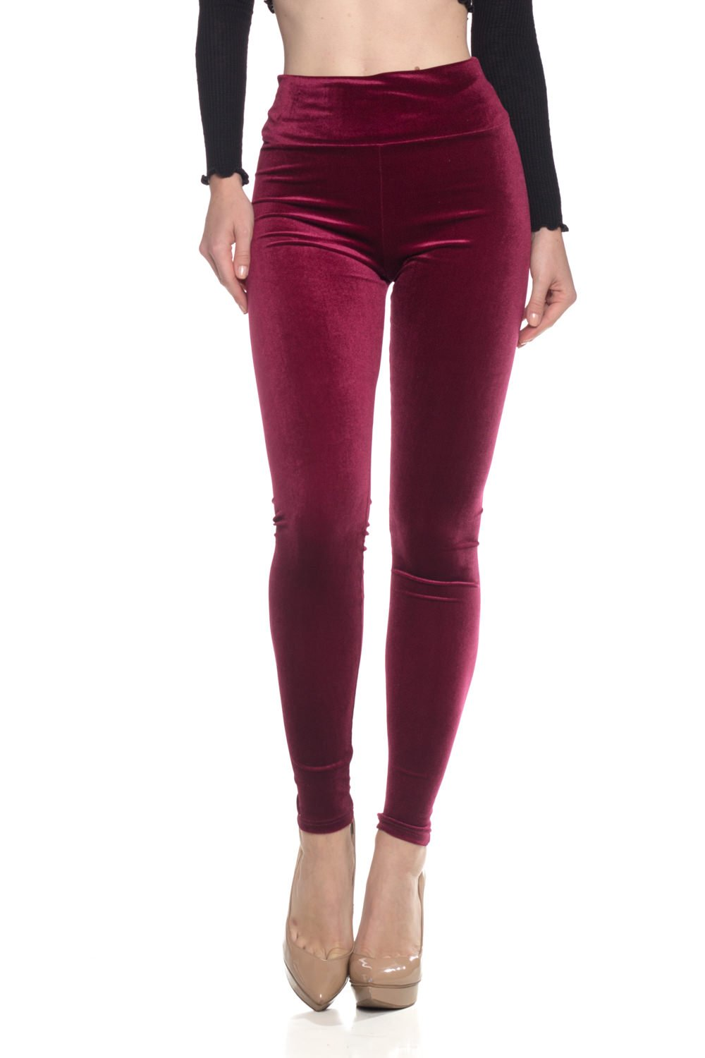 Women's J2 Love Velvet High Waist Leggings, Medium, Plush Burgundy