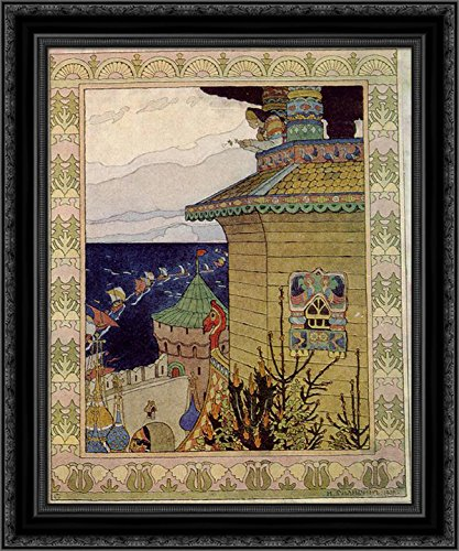 Princess in The Prison Tower. Illustration of The Russian Fairy Tale The White Duck 24x20 Black Ornate Wood Framed Canvas Art by Ivan Bilibin