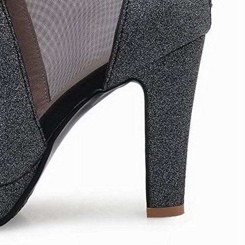 Tacón Mujeres Aalardom Sólido Cremallera De Sandalias Vestir Alto Negro Tsmlh006509 F5wZ6wq