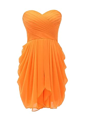 yan qiong Short Sweetheart Prom Dresses Soft Chiffon Evening Dress Bridesmaid Dress Orange