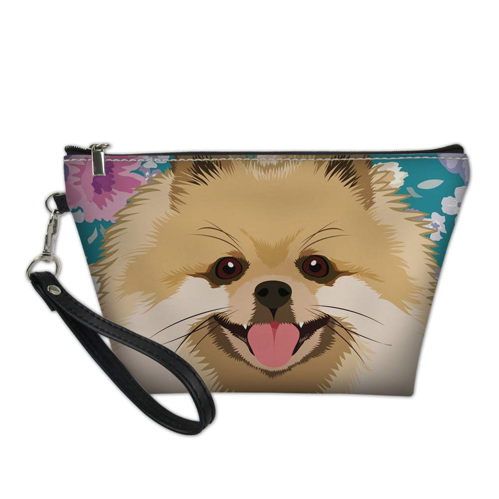 Sannovo Women Toiletry Bags with Hanging Rope Cute Pomeranian 3D Printed Gift for Girls Toiletry Pouch
