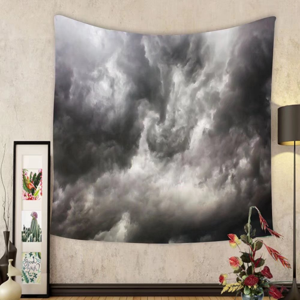 Gzhihine Custom tapestry Grey Decor Tapestry Weather Stormy Gloomy Air Clouds Lightings Scary Horror Movie Inspired Photo for Bedroom Living Room Dorm 60 W X 40 L Gray and White