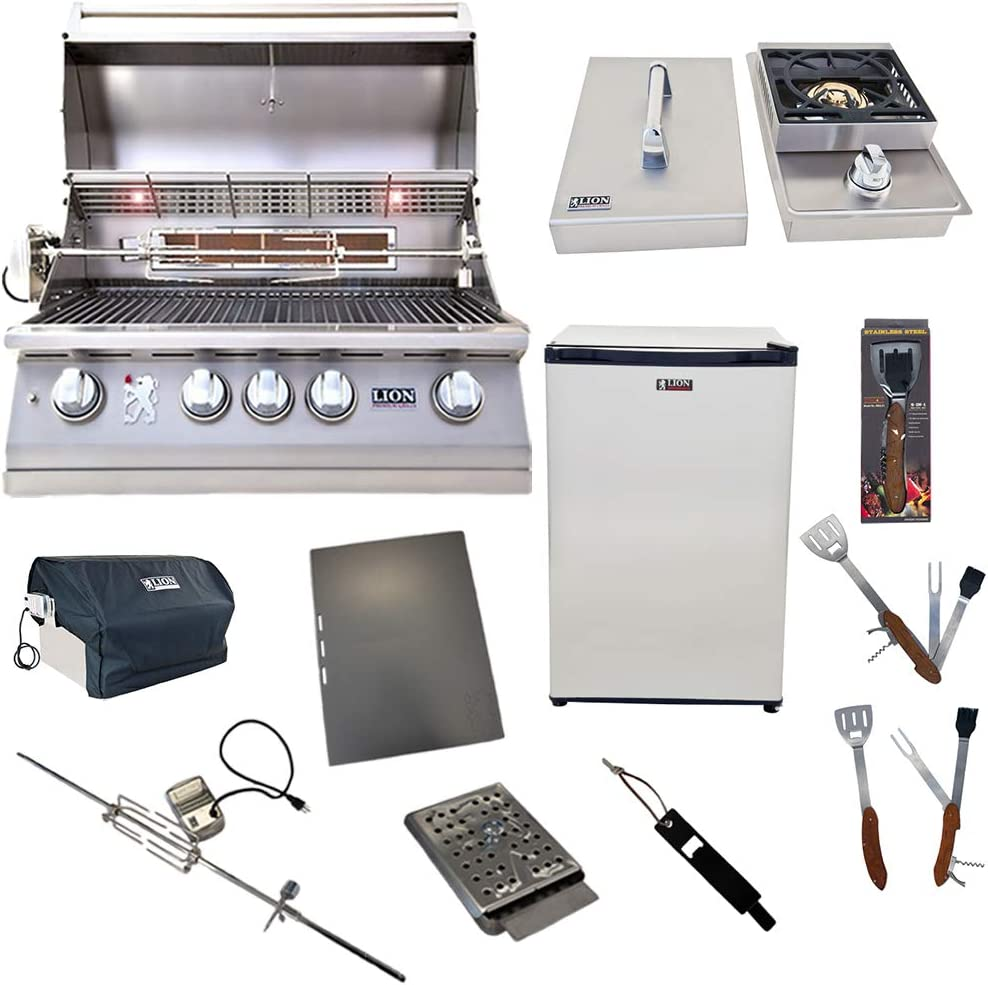 Lion Premium Grills 32-Inch Liquid Propane Grill L75000 with Lion Single Side Burner and Eco Friendly Lion Refrigerator with 5 in 1 BBQ Tool Set Best of Backyard Gourmet Package Deal