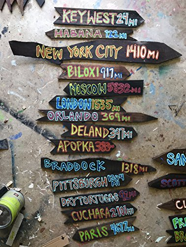 Set of 9 Directional Signs Tiki Fairy Tale Destination-Directional Sign Custom Tiki Arrows Road Sign