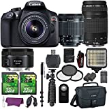Canon EOS Rebel T6 Digital SLR Camera with EF-S 18-55mm IS II Lens + EF 75-300mm III Telephoto Lens + EF 50mm f/1.8 STM Lens and Accessory Bundle (15 Items)
