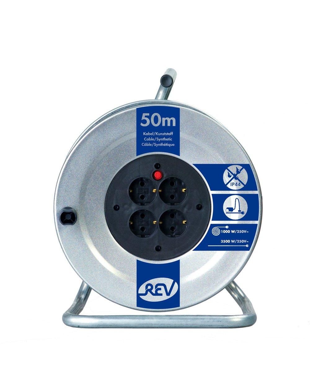 REV Ritter 008839 - Carrete alargador de cable (chapa de acero, 50 m, H05VV-F3G15)