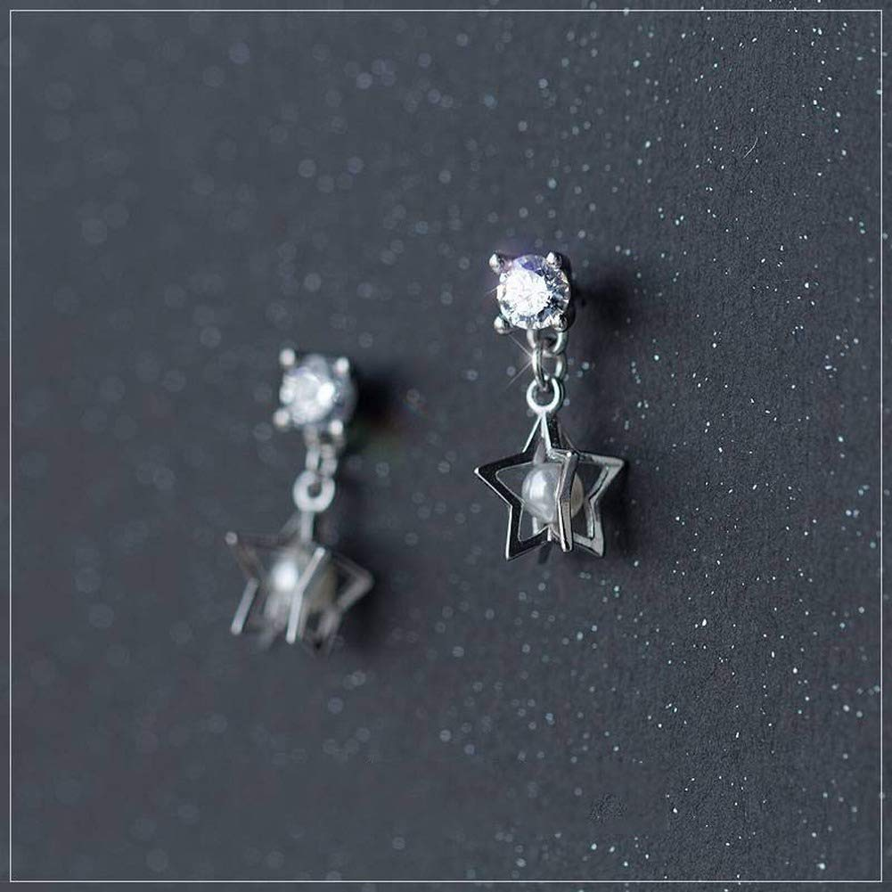 Lvdijidian Womens Western Trend Fashion Star Inlaid Pearl Stud Earrings S925 Silver Earrings Female Small Fresh Single Diamond Five-Pointed Star Beaded Synthetic Pearl Earrings Ear Jewelry