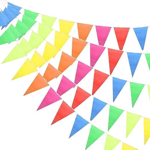 HO2NLE 200pcs Multicolor Banderín Banderines Bunting Bandera Guirnalda Banderines Nylon Impermeable para Fiesta Picnic Cumpleaños Tienda Piscina Escuela Navidad 7Colores 80M: Amazon.es: Jardín
