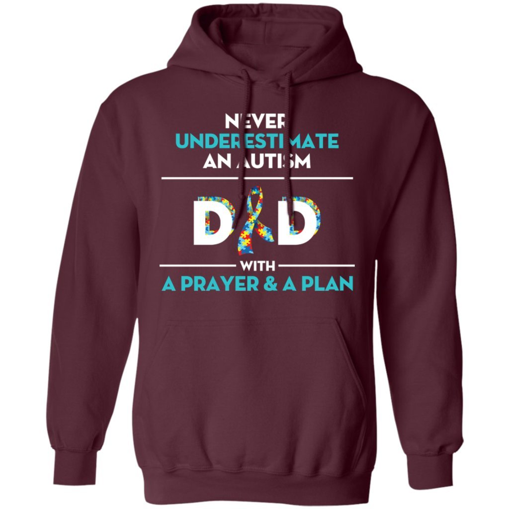 Never Underestimate an Autism Dad with A Prayer Gift Tee Hoodie