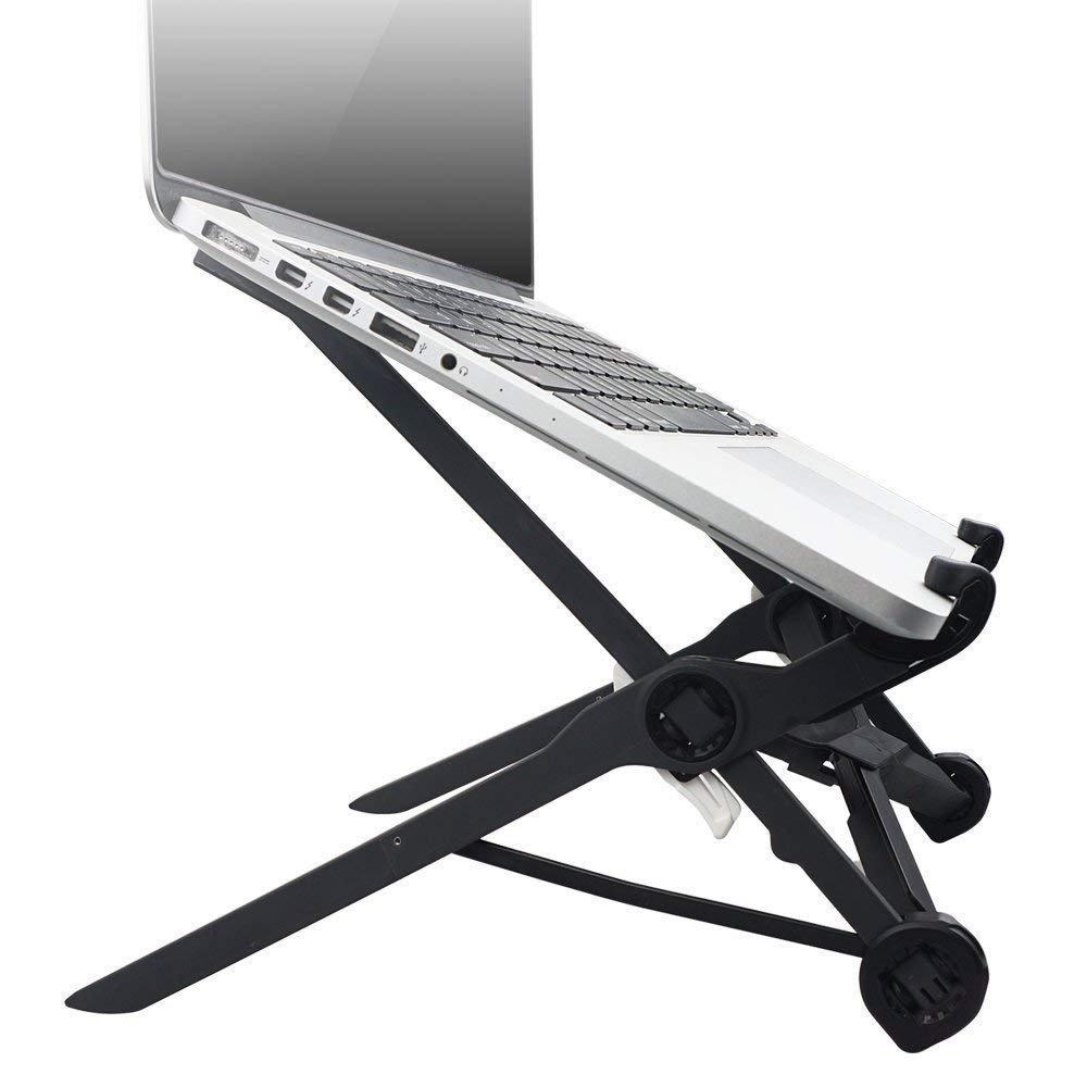 compacto ligero ajustable al nivel de los ojos ajuste universal para PC ergon/ómico MacBook Soporte para port/átil plegable negro
