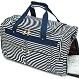 Weekender Overnight Duffel Bag Shoe Pocket for Women Men Weekend Travel Tote Carry On Bag (Stripe Blue White 0.6cm)