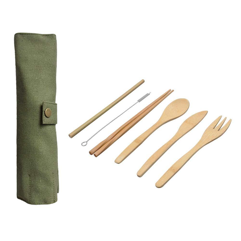 Besteckset Flatware Set, 6 Stück Holz Besteck set Bambus Besteck, mit Stoffbeutel Küche Kochen Werkzeuge, Einfach zu tragen