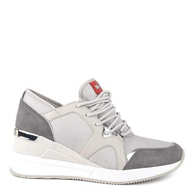 Michael Kors Zapatillas Liv Sneaker Lona/Cuero, Mujer 37 Aluminium