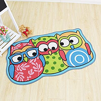 "Kids Rug Cartoon Owl Carpet Children Area Rug - for Bedroom Playroom & Nursery -Non Skid Gel Backing (26"" x 47"")"