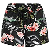 SSLR Women's Pink Flamingos Casual Hawaiian Aloha Beach Board Shorts (Medium, Black)