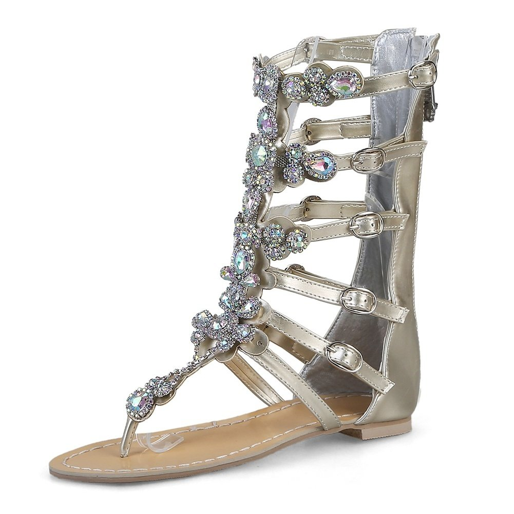 DecoStain Women's Peep Toe Appliques Decoration Buckle Strap Thin High Heel Party Gladiator Sandals B07D48DMXV 9 B(M) US|3 Gold