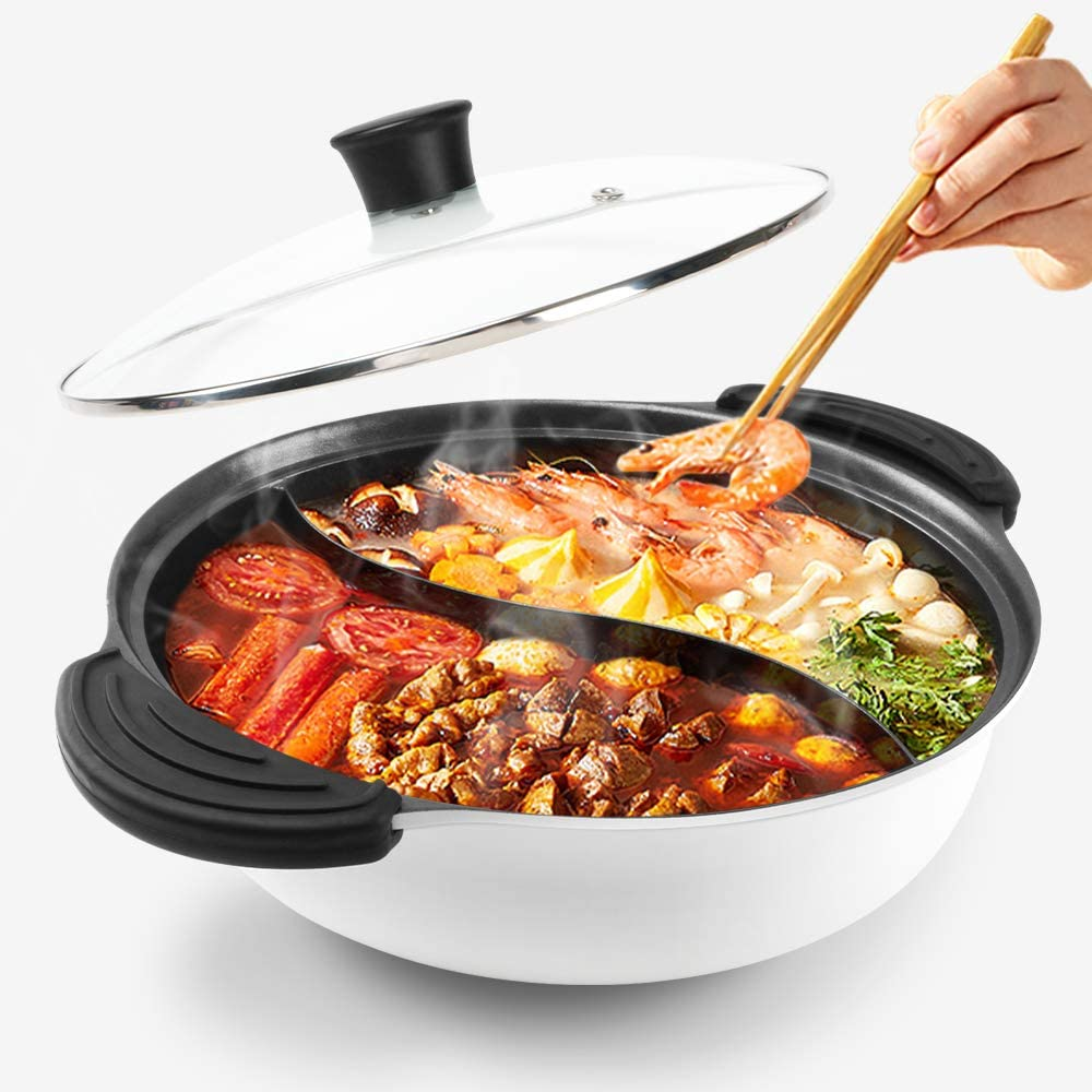 Hot Pot with Divider for Induction Cooker Dual Sided Soup Cookware Two-flavor Chinese Shabu Shabu Pot for Home Party Family Gathering, 3.5 Quart (White)