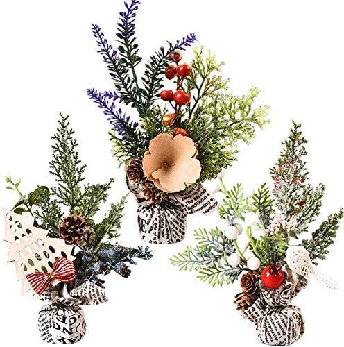 AOFOX Mini Albero di Natale con Decorazioni, 3 Pezzi di Pino Natalizio Alto 25 cm per Decorazioni Natalizie, Tavolo e scrivania