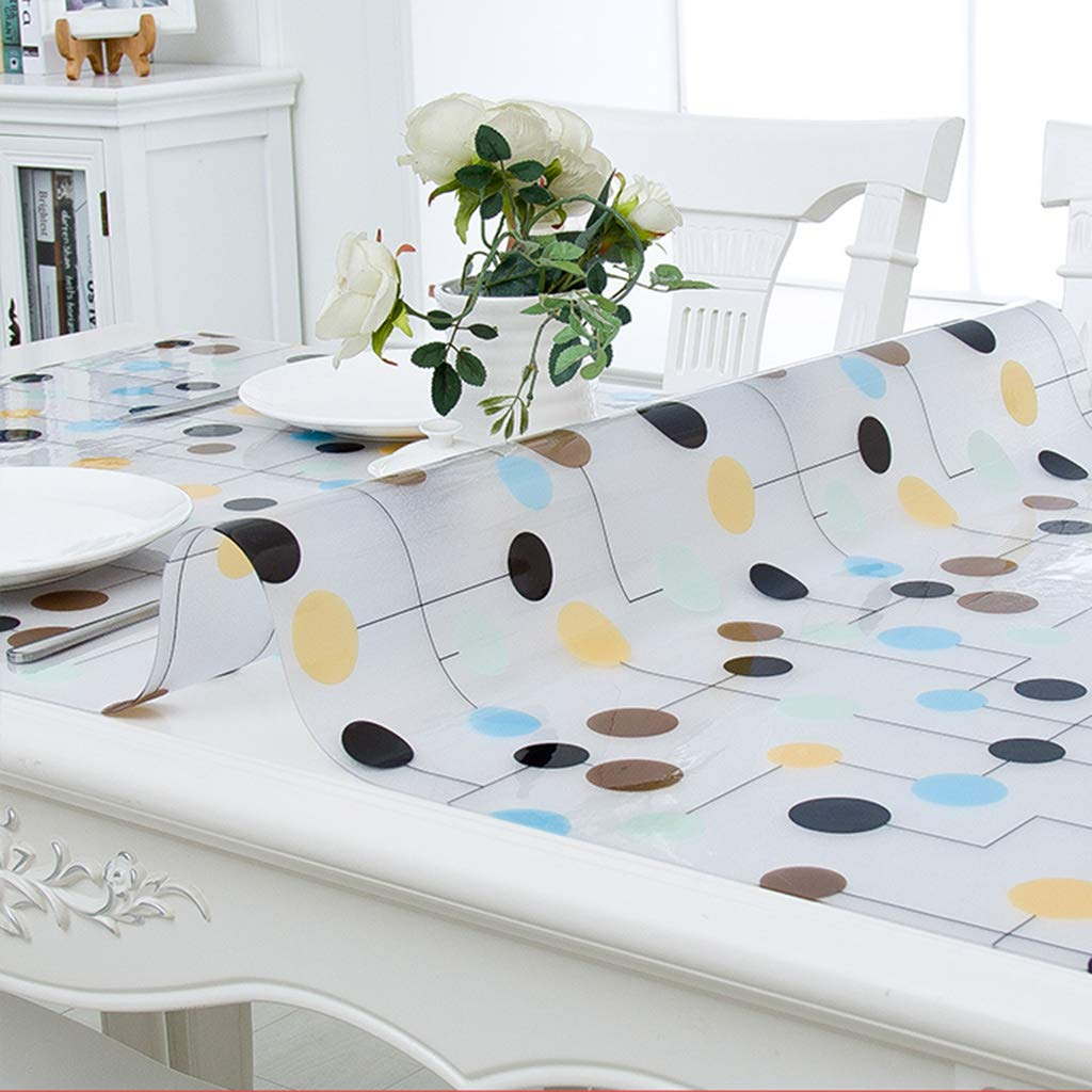 Gbf Soft glass Transparent Tablecloths PVC Coffee cover cloth towel geometry pattern plant flowers waterproof Antifouling Mold elegant (Size : 90 * 150cm)